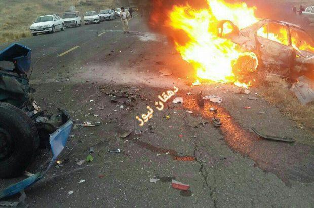 تصادف مرگبار در جاده مشگین شهر جان سرنشینان خودرو را گرفت+ فیلم